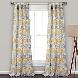 Blooming Flower Rod Pocket Room Darkening Window Curtain Panel Pair