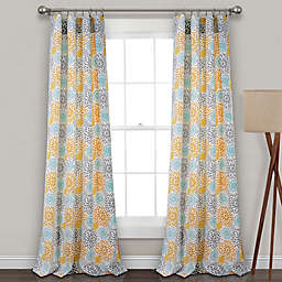 Blooming Flower Rod Pocket Room Darkening Window Curtain  (Set of 2)