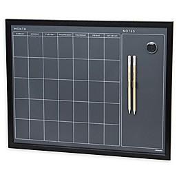 Wood-Framed Magnetic Chalkboard with Calendar Grid