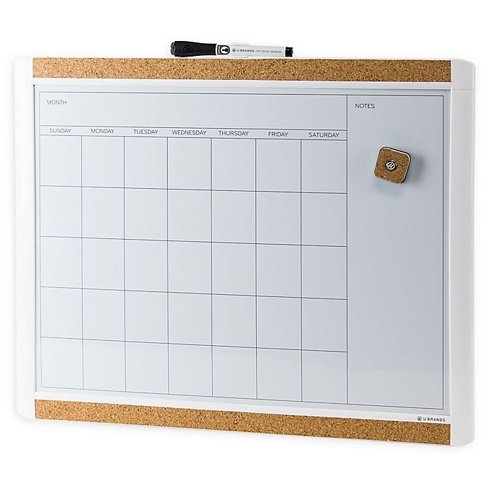 Alternate image 1 for Pin-It Magnetic Dry Erase Calendar Board in White