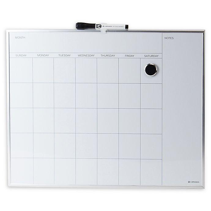 Alternate image 1 for Metal-Framed Magnetic Dry Erase Board with Calendar Grid