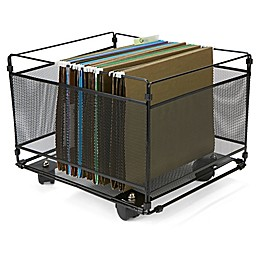 Mind Reader Rolling Metal Box File Organizer in Black