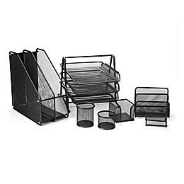 Mind Reader 7-Piece Mesh Desk Organizer Set in Black