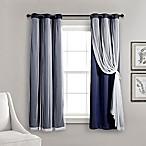 Lush Decor 63-Inch Grommet Sheer/Room Darkening Lined Window Curtain Panel Pair in Navy