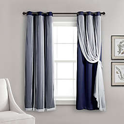 Lush Decor 2-Pack 63-Inch Grommet Sheer/Blackout Lined Window Curtain Panels in Navy