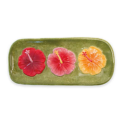 Boston International Hibiscus Heaven Serving Platter in Green