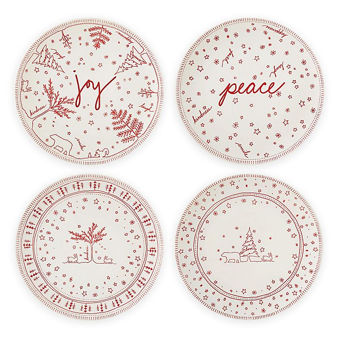 Alternate image 1 for ED Ellen DeGeneres Crafted by Royal Doulton® Holiday 8-Inch Accent Plates (Set of 4)