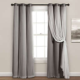 Lush Decor 84-Inch Grommet Sheer/Blackout Lined Curtain Panels in Light Grey (Set of 2)