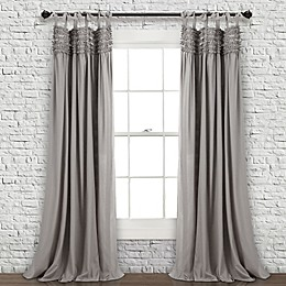 Lydia Ruffle 84-Inch Tie Top Window Curtain Panel Pair in Grey