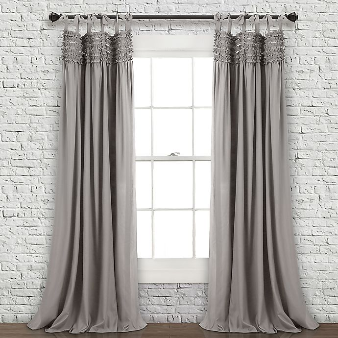 Alternate image 1 for Lush Décor Lydia Ruffle 84-Inch Tie Top Window Curtain Panel Pair in Grey