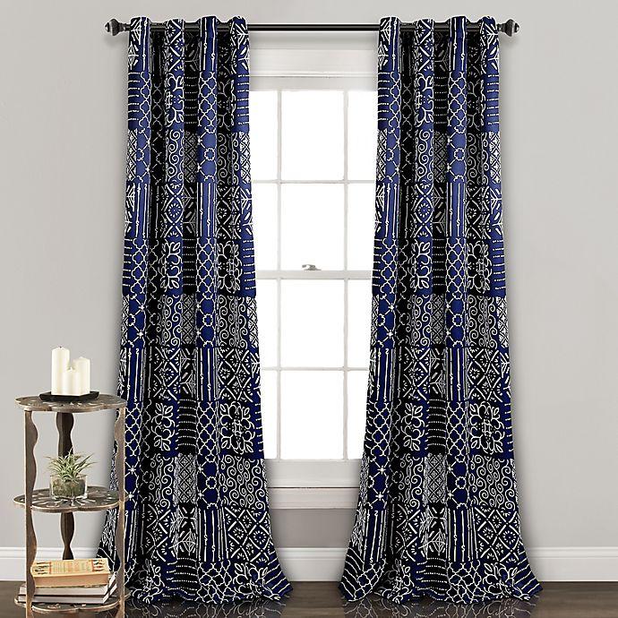 Alternate image 1 for Lush Décor Monique 84-Inch Grommet Room Darkening Window Curtain Panel Pair in Navy