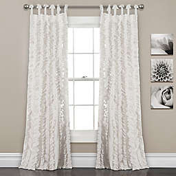 Sophia Ruffle 2-Pack 84-Inch Tie Top Window Curtain in White