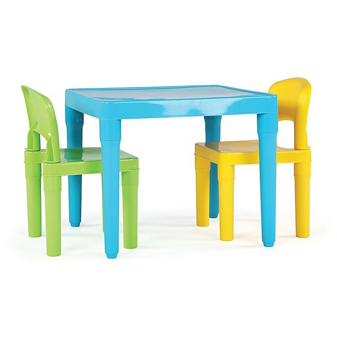 Alternate image 1 for Tot Tutors Playtime 3-Piece Plastic Table & Chairs Set in Aqua
