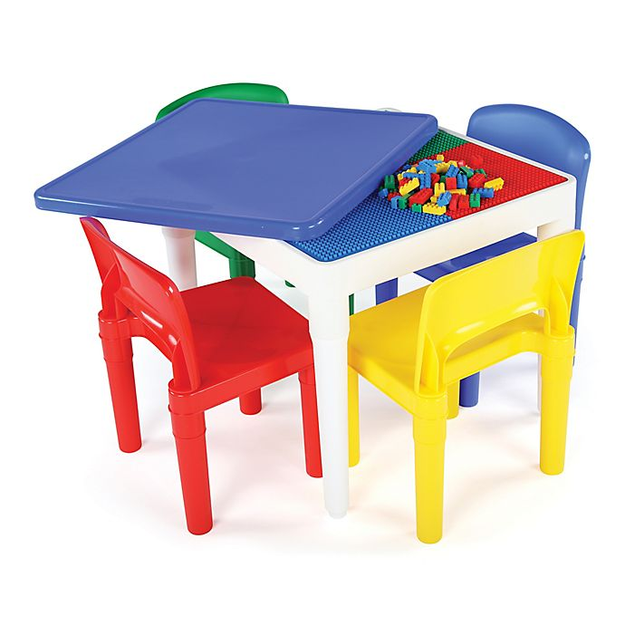 Alternate image 1 for Tot Tutors 2-In-1 LEGO®-Compatible Square Activity Table and Chair Set