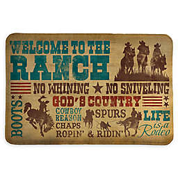 "Laural Home® Welcome to the Ranch 20"" x 30"" Memory Foam Bath Mat in Brown"