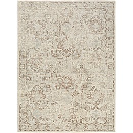 Shabby Chic Pastel Power-Loomed Rug in Ivory/Beige