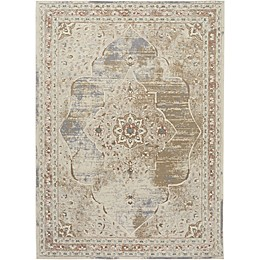 Shabby Chic Pastel Power-Loomed Rug in Beige/Cream