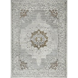 Shabby Chic Pastel Power-Loomed Rug in Silver/Ivory