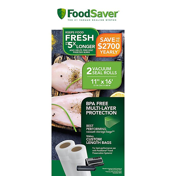 Alternate image 1 for FoodSaver® 11-Inch x 16-Foot 2-Pack Vacuum Packaging Rolls