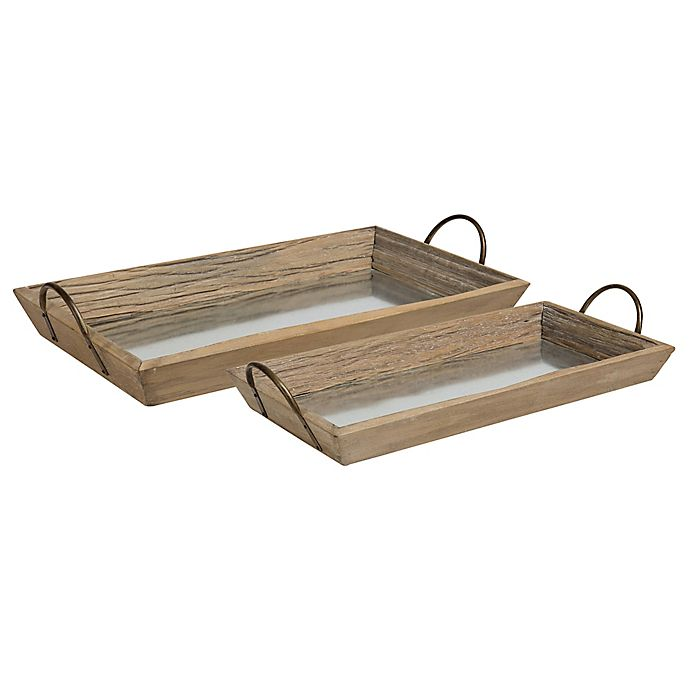 Alternate image 1 for Kate And Laurel Meora Driftwood Nesting Trays in Natural/Bronze (Set of 2)