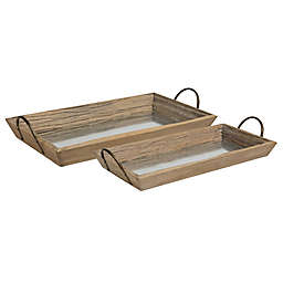 Kate And Laurel Meora Driftwood Nesting Trays in Natural/Bronze (Set of 2)