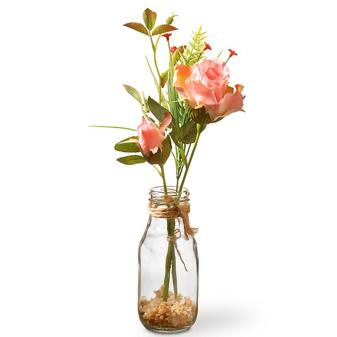 Alternate image 1 for National Tree Company 13-Inch Artifical Rose Bud Arrangement in Pink with Glass Vase