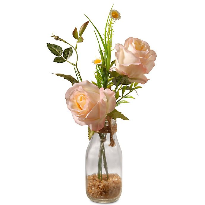 Alternate image 1 for National Tree Company 13-Inch Artifical Rose Arrangement in Peach with Glass Vase