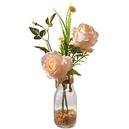 National Tree Company 13-Inch Artifical Rose Arrangement in Peach with Glass Vase