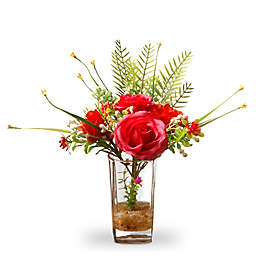 National Tree Company 12-Inch Artifical Rose and Fern Arrangement in Red with Glass Vase
