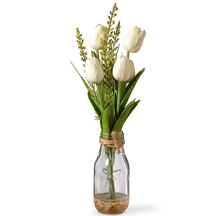Alternate image 1 for National Tree Company 15-Inch Artifical Tulip Arrangement in White with Glass Vase