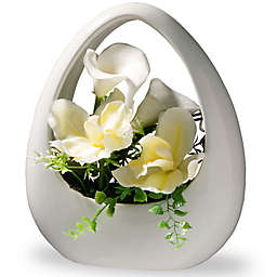 National Tree Company 9-Inch Artificial Orchid and Calla Lily Arrangement with White Planter