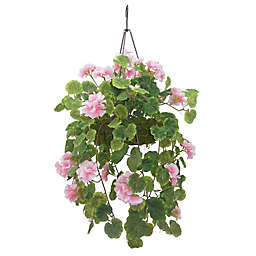 National Tree Company 12-Inch Artificial Geranium Hanging Plant in Pink with Wire Basket