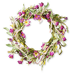 National Tree Company 22-Inch Artificial Floral Wreath in Purple