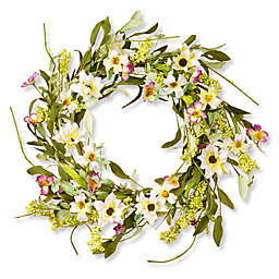 National Tree Company® 20-Inch Floral Artificial Wreath in Purple/White