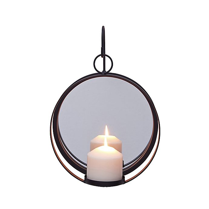 Alternate image 1 for Dayna B. Round Iron Pillar Candle Sconce with Mirror in Black