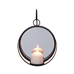 Dayna B. Round Iron Pillar Candle Sconce with Mirror in Black