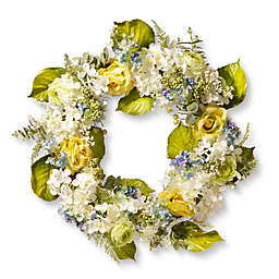 National Tree Company® 30-Inch Spring Flower Artificial Wreath in Yellow