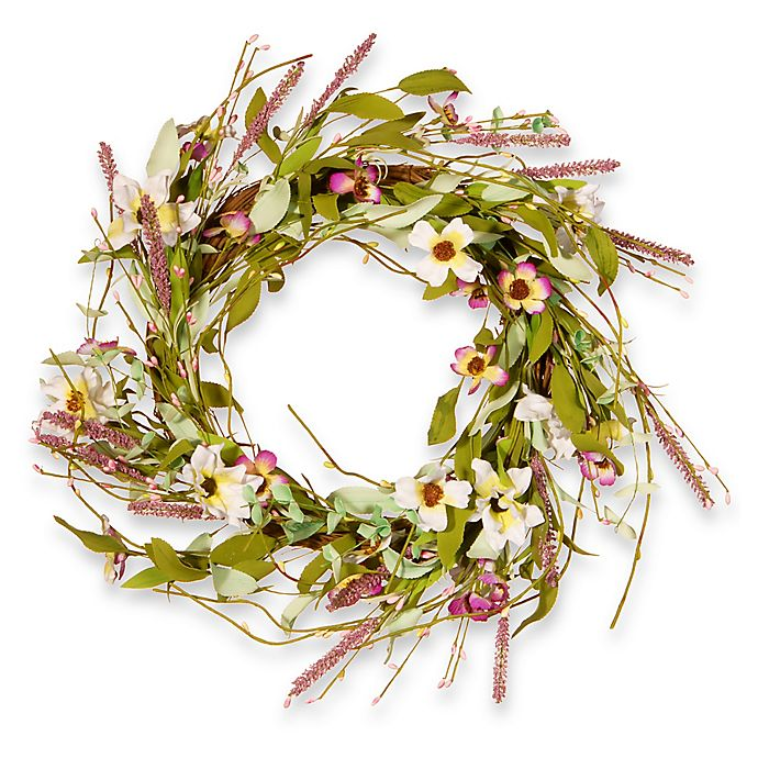 Alternate image 1 for National Tree Company 22-Inch Assorted Spring Flowers Artificial Wreath