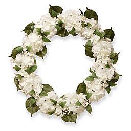 National Tree Company 32-Inch Hydrangea Artificial Wreath in Cream