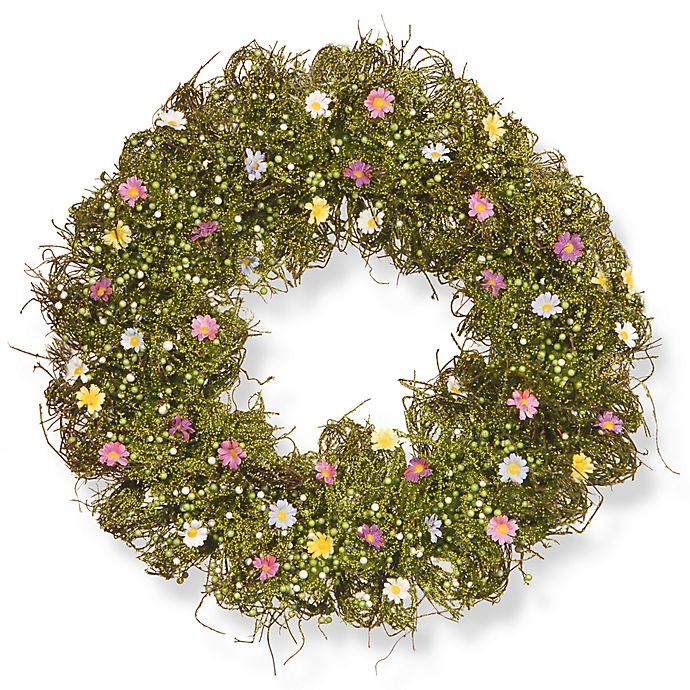 Alternate image 1 for National Tree Company 19-Inch Spring Flower Artificial Wreath