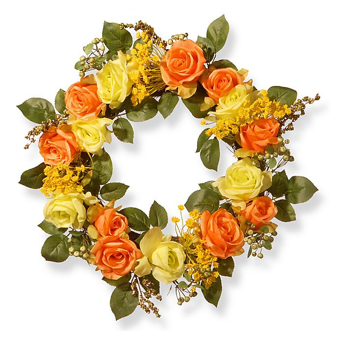 Alternate image 1 for National Tree Company 20-Inch Spring Rose Artificial Wreath