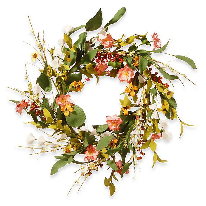 Alternate image 1 for National Tree Company 22-Inch Spring Flower Artificial Wreath