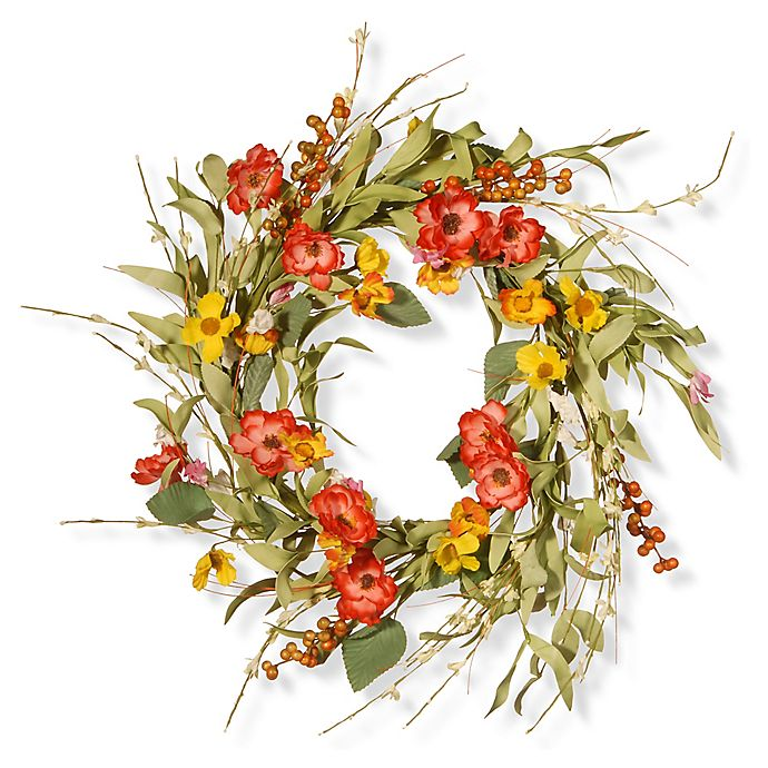Alternate image 1 for National Tree Company 22-Inch Spring Flower Artificial Wreath in Red/Yellow