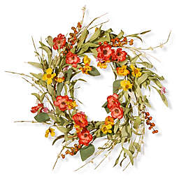 National Tree Company 22-Inch Spring Flower Artificial Wreath in Red/Yellow