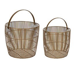 Kate And Laurel Rhim Basket Planters in Gold (Set of 2)