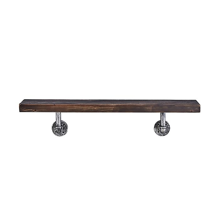 Alternate image 1 for Danya B.™ 36-Inch x 7-Inch Floating Pipe Industrial Rustic Wall Mount Shelf in Ebony