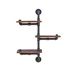 Danya B.™ 3-Tier Vertical Pipe Industrial Wall Shelf in Dark Chestnut