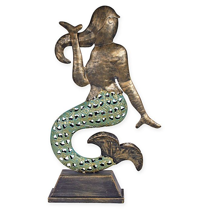 Alternate image 1 for Solar Metal Mermaid in Copper