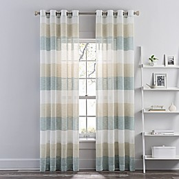 Brix Solid and Stripe Sheer Grommet Window Curtain Panel Collection