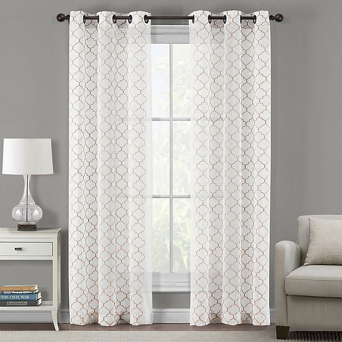 Alternate image 1 for Sydney Embroidered Ogee 108-Inch Grommet Sheer Window Curtain Panel Pair in Linen